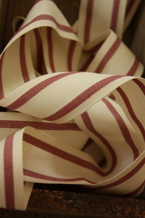RESERVED for Jane: 6 Yards Organic Cotton Burgundy and White Stripe Ribbon