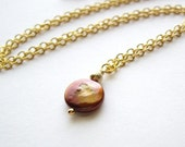 Bronze Coin Pearl 14kt Gold Necklace / Chocolate Hugs