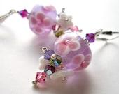 Tropical Lilac v2 - Earrings / Lampwork Glass, Czech flower, Swarovski Crystal, Sterling Silver