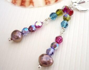 Anuenue Love - Earrings / Freshwater Pearl, Sterling Silver, Swarovski Crystal, Rainbow, Drop, Purple, Jewel Tone, Made in Hawaii
