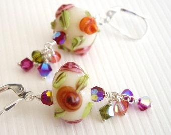 Loke Pihi v2 - Earrings / Lampwork Glass, Sterling Silver, Swarovski Crystal