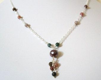 Linohau - Necklace / Freshwater Pearl, Fancy Jasper, Sterling Silver