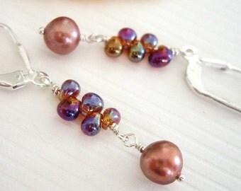 Napo'o 'ana ka la v2 - Earrings / Freshwater Pearl, Sterling Silver, Miyuki Beads