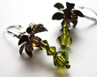 Coconut Tree Cuties - Earrings / Sterling Silver, Swarovski Crystal, Antique Brass