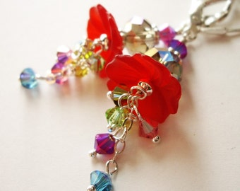 Hibiscus Nectar v2 - Earrings / Lucite Flower, Swarovski Crystal, Sterling Silver