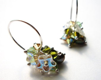 Pualei in Green - Earrings/ Freshwater Pearl, Swarovski Crystal, Sterling Silver, Czech Flower