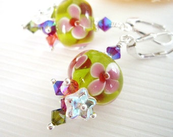 Serene Garden Love v2 - Earrings / Lampwork Glass, Sterling Silver, Czech Flower, Swarovski Crystal, Plumeria, Orchid, Pink, Green, Hawaii