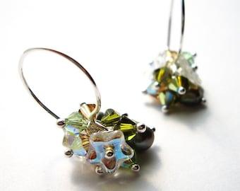 Pualei in Green - Earrings/ Freshwater Pearl, Swarovski Crystal, Sterling Silver, Czech Flower