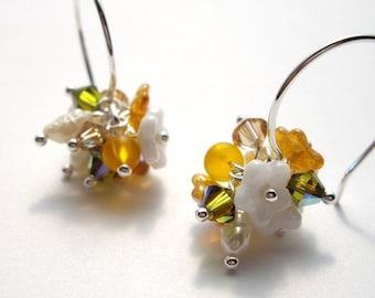 Pualei in Orange - Earrings/ Freshwater Pearl, Swarovski Crystal, Sterling Silver, Ilima, Pikake, Puakenikeni, Tangerine, Bouquet, Hawaii