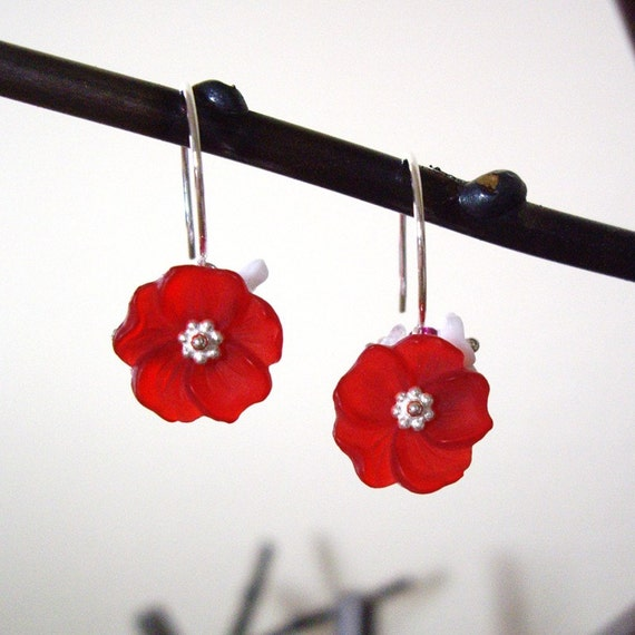 Hibiscus Romance v3 - Earrings / Sterling Silver, Swarovski Crystal, Czech Flower
