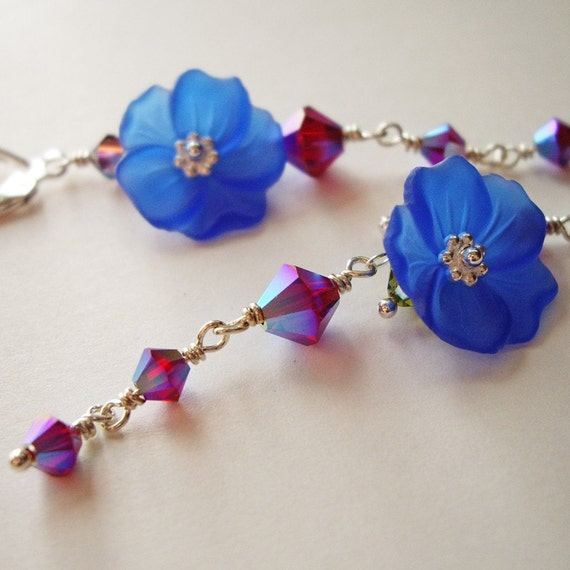 Blue Hawaii Hibiscus - Earrings / Sterling Silver, Lucite Flower, Swarovski Crystal, Cobalt Blue, Ruby Red, Blueberry, Raspberry