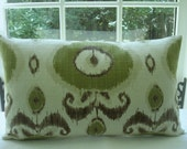 NEW-Lumbar 14x24  Ikat  Decorative Pillow Cover--Designer Fabric--14x24---Ikat Design-Washed Look Chocolate --green--ivory
