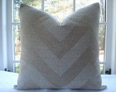 SALE--Pair Both Sides ..19 3/4x 19 3/4 --Decorative Pillow Cover- Chevron -Designer Fabric- Throw Pillow-Accent Pillow-- Beige and Ivory