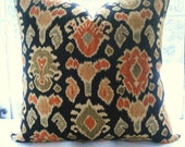 BOTH SIDES--Decorative Pillow Cover - IKAT- Designer Fabric--Linen -Blue-Orange-Green-Gold Black- Cream
