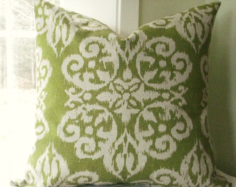 Beautiful Decorative Pillow Cover--Designer Fabric--Throw Pillow--Ikat Medalion--Celery Green and Ivory --Flax/ basketweave