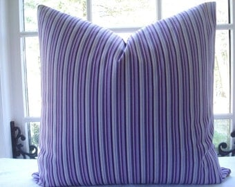 SALE--- Decorative Pillow Cover--Designer Fabric -Throw Pillow-- Stripe Design--Purple,Mauve,Orchid,Lavender, Light Mauve