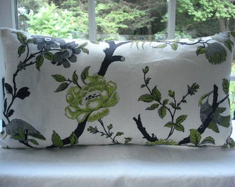 Sale-Both Sides -9x24-LumbarDecorative Designer  Pillow Cover- -Linen- floral and Peacocks - Charteuse- lime-Apple Green-Charcoal