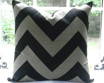Stone/Black Chevron-Decorative Pillow Cover- Zig Zag- - Lumbar /ThrowPillow- Accent Pillow Geometric--