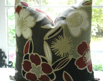 SALE-Both Sides -Decorative Pillow Cover-- Floral Design-Chocolate, Cream,  Tan,- Deep Red--