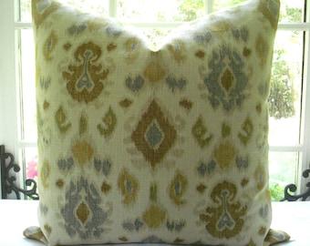 BOTH SIDES--Decorative Designer Pillow Cover - IKAT -Throw Pillow---Linen --Soft golds ,blues,tan, green -Ivory-- -