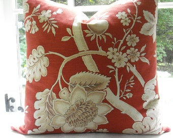 JAY YANG BENGAL-Both Sides- Decorative Designer Pillow Cover-Asian Inspired  Floral Design--Linen-Persimmon/Coral/Ivory /Taupe Throw Pillow