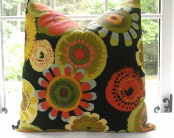 Both Sides -Decorative  Designer Pillow Cover -Floral Tangerine Throw Pillow-Accent Pillow--Tangerine, Lime, Black