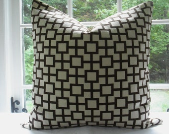 Both Sides-Robert Allen--Decorative Pillow Cover- Designer Fabric- Linen .--Geometric --Chocolate and Cream