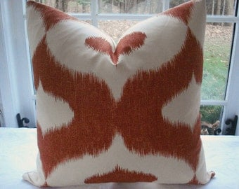SALE-20x20  Decorative Pillow Cover -- Ikat--Designer Fabric  --Orange Throw Pillow-Accent Pillow --Orange -Clay-Cream-Linen