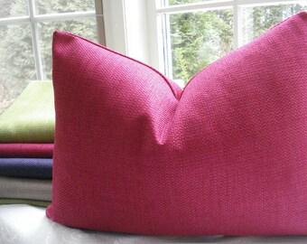 BOTH SIDES-Lumbar Sizes- Decorative  Pillow Cover--Basketweave Designer Fabric -Accent Pillow --Fuchsia -Lime-Purple-Sand -Burnt Orange