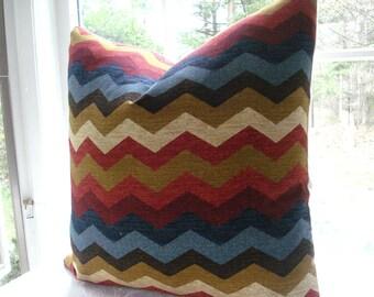 SALE---Decorative Designer Pillow Cover--Designer Fabric --Wave---Red lumbar Pillow-Cranberry , Blue , Gold  Cream, Expresso