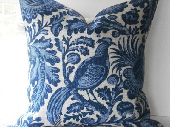 Gorgeous Decorative Pillow Cover--Designer Fabric --20x20--Waverly Williamsburg Collection ---Peacock Design--Indigo Blue
