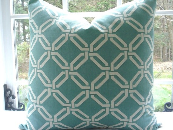 Beautiful Decorative Pillow Cover--Designer Fabric --- 20x20--Throw Pillow-- Trellis Design --Seaglass/ Off White