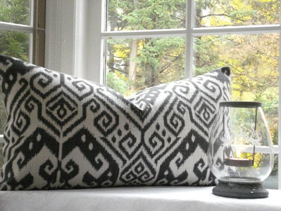 IKAT Throws and Lumbars12x24 14x24 16x16  and more -Designer  Decorative Pillow --Ikat Throw/Toss/Lumbar Pillow -Charcoal -Ivory- Medallion