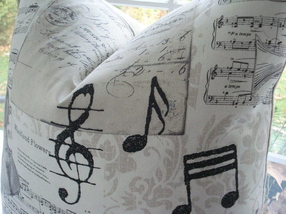 20X20 --Decorative PillowCover-  Designer Fabric--Neutral Throw Pillow-Musical Notes -Musical Design-Taupe-Cream-Black-Charcoal