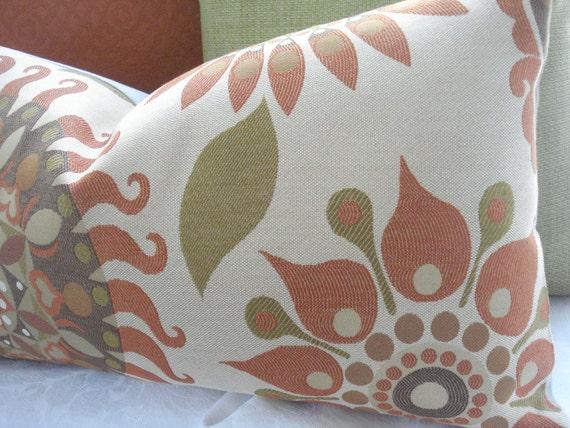 SALE-Last One-12X22--Decorative  Pillow Cover--Suzani Tribal - Designer Fabric -Orange Lumbar Throw Pillow---Spice Colors--Woven Jacquard