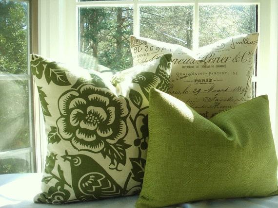 20x20-Bird Design-Designer Decorative Pillow--Green Throw Pillow-Accent Pillow 20X20- Moss Green and Ivory - Thomas Paul