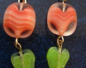 SALE Coral Leaf Earrings