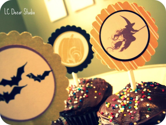 HALLOWEEN SALE - Ghoulish Glam Halloween Cupcake Toppers (16) FREE SHIPPING