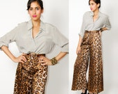 LEOPARD Bell bottom PANT trousers High Waist 70s flare GLAM s