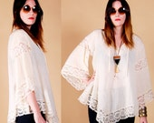 GAUZY blouse ANGEL SLEEVE hippie tunic Lace M