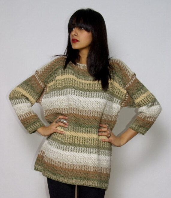 90s chunky STRIPED KNIT SWEATER jumper Slouchy grunge
