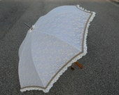 Neo Victorian style Cream Lace Parasol White Umbrella Antique Gold Trim Steampunk Burlesque Costume