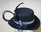 Circus Costume Victorian Woman Black Felt Tiny Top Hat Czech Glass button Black Feather Ribbon Trim With Pearls Steampunk Mini Fascinator