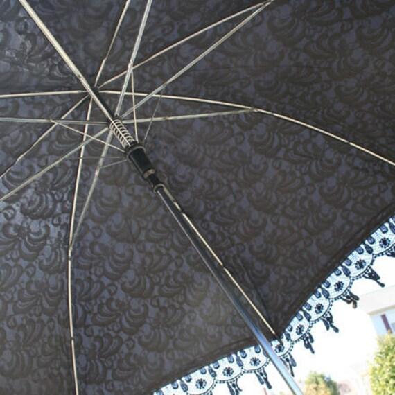 Black Venetian Lace Mourning Parasol Elegant Neo Victorian Steampunk Umbrella Burlesque Dance Costume Prop Fine Lady Bridal Accessory