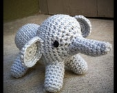 organic yarn - crocheted gray elephant toy