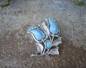 Blue rhinestone and enamel Virgin Mary medal silvertone brooch unique Catholic