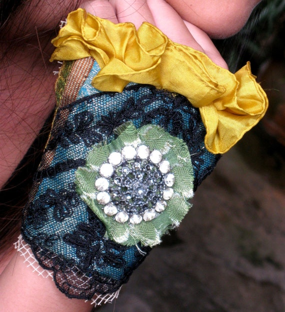 THACKERAY'S GREEN EYED BECKY, Dishevelled Naughty Debutante Cuff With Vintage Brooch, Antique Lame Trim, Bollywood Brocade , Lace and Vintage Italian Silk by SHEELA GOH