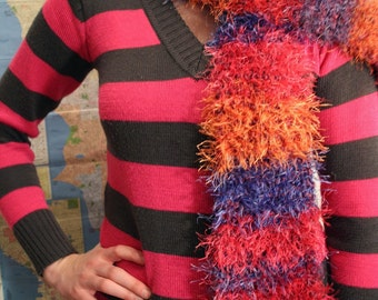 Red, Orange, and Blue Fun Fur Scarf