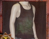 Dirty and Distressed Women's Large/ Men's Medium Grungy and Green Wasteland Tank Top OOAK