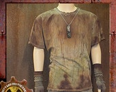 Dirty and Distressed Woman's 3XLarge/ Men's 2XLarge Grungy and Green T-Shirt OOAK